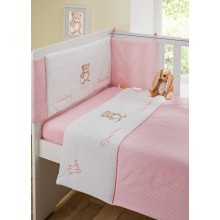 Girls 3 Piece Nursery Pink Teddy Cot Bed Baby Bale Bedding Set Cot Quilt, Bumper and Fitted Sheet