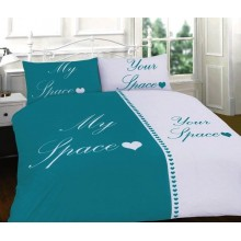 My Space Your Space Duvet Quilt Cover Bedding Set Teal And White