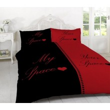 My Space Your Space Duvet Quilt Cover Bedding Set Black And Red