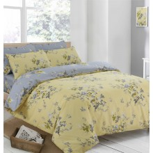 CnA Stores - Victoria Yellow and Grey Floral Duvet Cover & Pillowcase Bedding Set Single, Double or King Size (Single Bed)