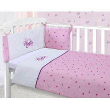 CnA Stores – Little Princess Pink Stars Girls Cot Bed Baby Bale Bedding Set Cot Quilt, Bumper and Fitted Sheet